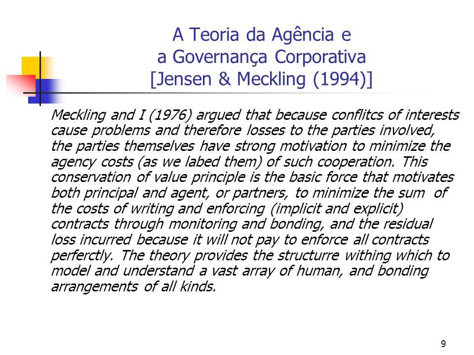 A Teoria da Agência e a Governança Corporativa [Jensen & Meckling (1994)]